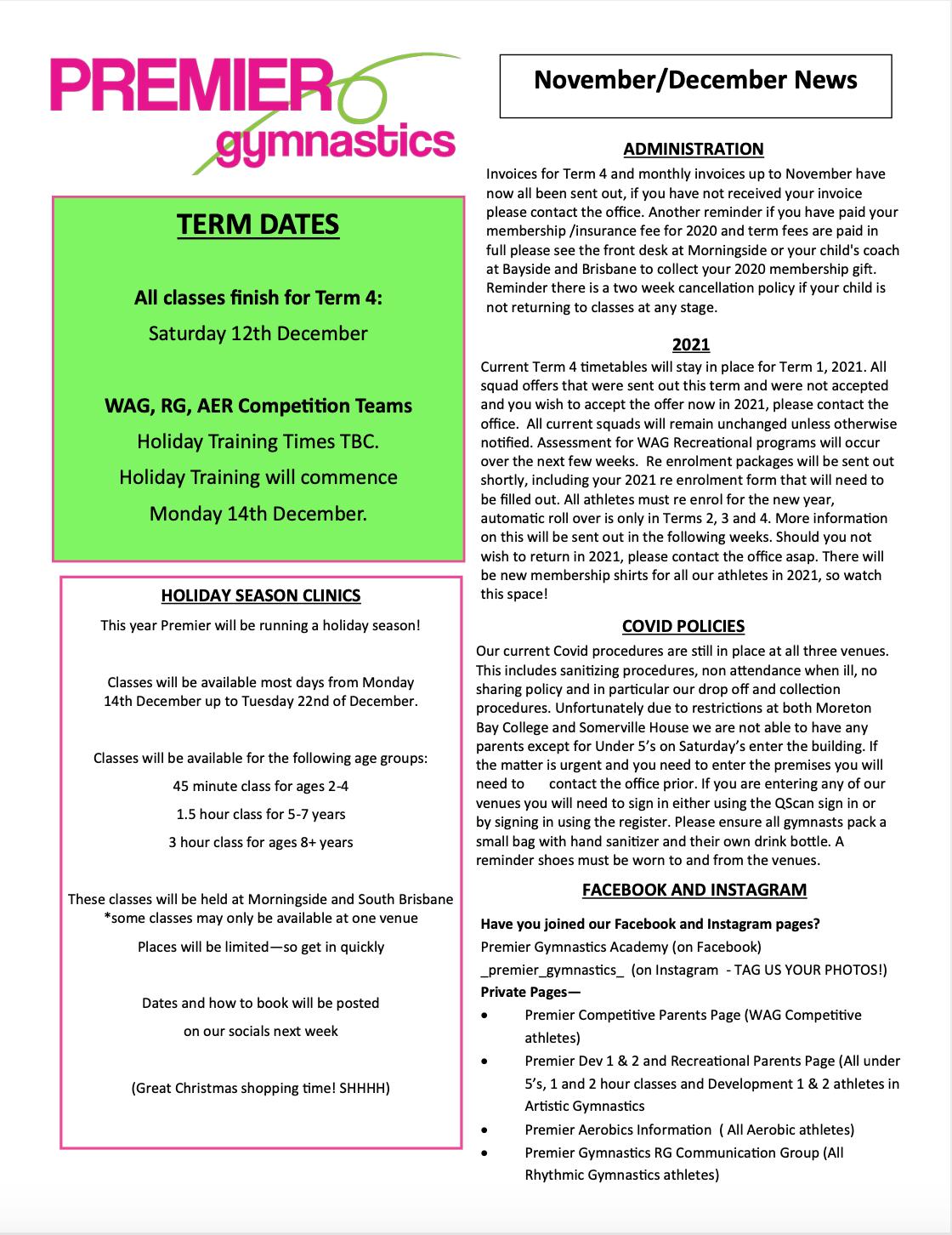 November/December 2020 Newsletter